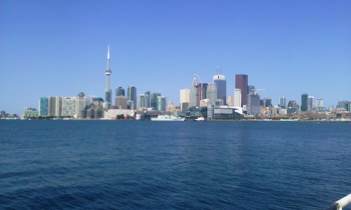 Toronto skyline - as viewed from the end of Polson Street, at The Docks.