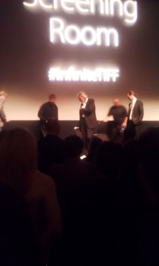 Roger Waters and Sean Evans getting ready for the Questions & Answers session, after the movie.
