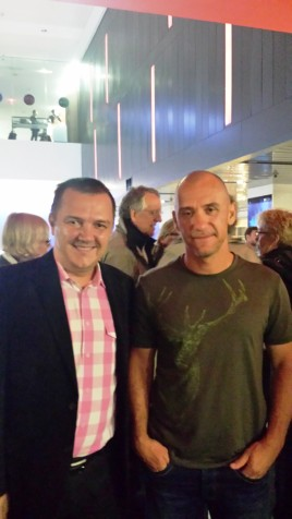 Radu Muntean (right) at the North American premiere of ONE FLOOR BELOW in Toronto, 12 September 2015