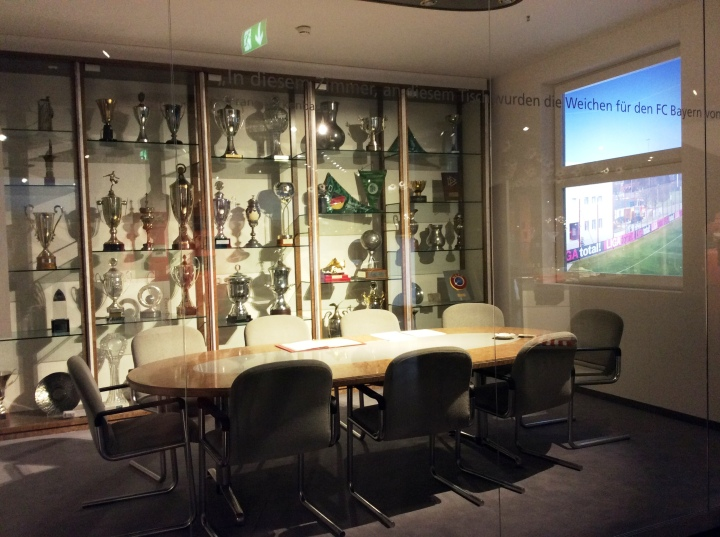 At the end of the guided arena tour, the same ticket will get you in the Bayern Munich museum. This is the (quite humble) board room from their old arena, recreated inside the museum.
